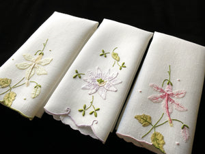 Trio of Tropical Flowers Vintage Madeira Embroidery Linen Fingertip Guest Towels