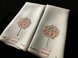 """Rose Tree"" in Pink Marghab Vintage Madeira Linen Guest Towels - Set of 2"