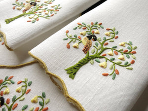 Partridge in a Pear Tree, Vintage Madeira Holiday Cocktail Napkins - Set of 6