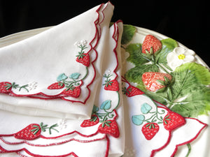 """Strawberry"" Vintage Marghab Madeira Embroidery 16"" Napkins - Set of 8"