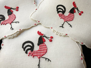 Picnic Rooster w/ Cherry Garnish Madeira Linen Cocktail Napkins - Set of 6