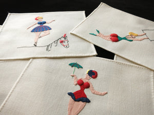 Circus Ladies w/ Padded Assets, Vintage Madeira Cocktail Napkins - Set of 8