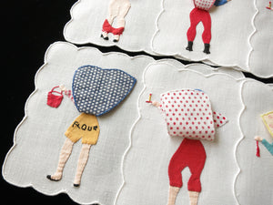 Vintage Naughty Peek-a-Boo Madeira Cocktail Napkins - Set of 6