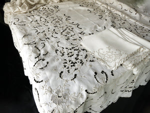 Extravagant Antique Madeira Embroidery Linen Tablecloth 12 Napkins 70x130""