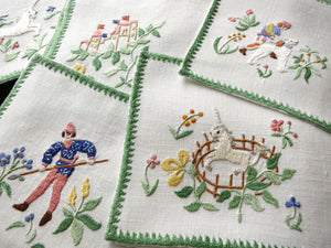 Hunt of the Unicorn, Vintage Rapisardi Italian Cocktail Napkins - Set of 12