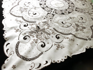 "Dense Flowers Antique Madeira Hand Embroidered 50"" Square Tablecloth"