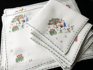 Gardening Italian Style Vintage Embroidered Placemat Set Rapisardi - Setting for 8