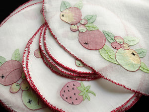 Fruits Rustic Hand Embroidery 19pc Round Placemat Set - Setting for 6