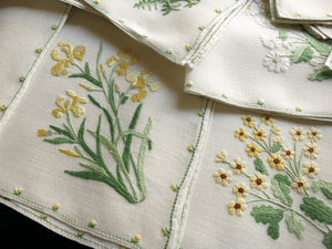 Elaborate Yellow Flowers Italian Rapisardi Hand Embroidered Napkins - Set of 12