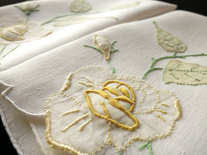 Yellow Roses Vintage Madeira Embroidery Linen Guest Towels - Set of 2