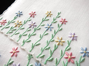 Tall Colorful Daisies Vintage Madeira Embroidery Cocktail Napkins - Set of 6