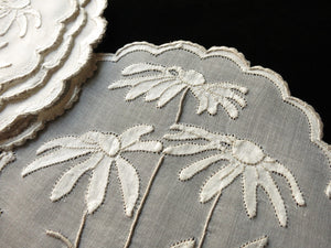 Coneflowers Vintage Madeira Embroidery Round Cocktail Napkins - Set of 8
