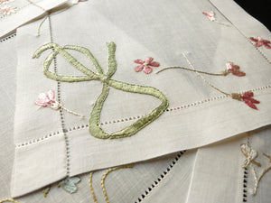 """Silk Ribbons & Bows"" Antique French Embroidered Cocktail Napkins - Set of 12"