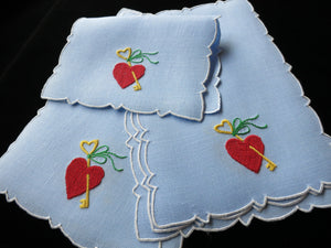 Key to my Heart Vintage Cocktail Napkins Madeira Hand Embroidery - Set of 6