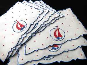 Sailboats Vintage Madeira Embroidered Cocktail Napkins Nautical - Set of 8