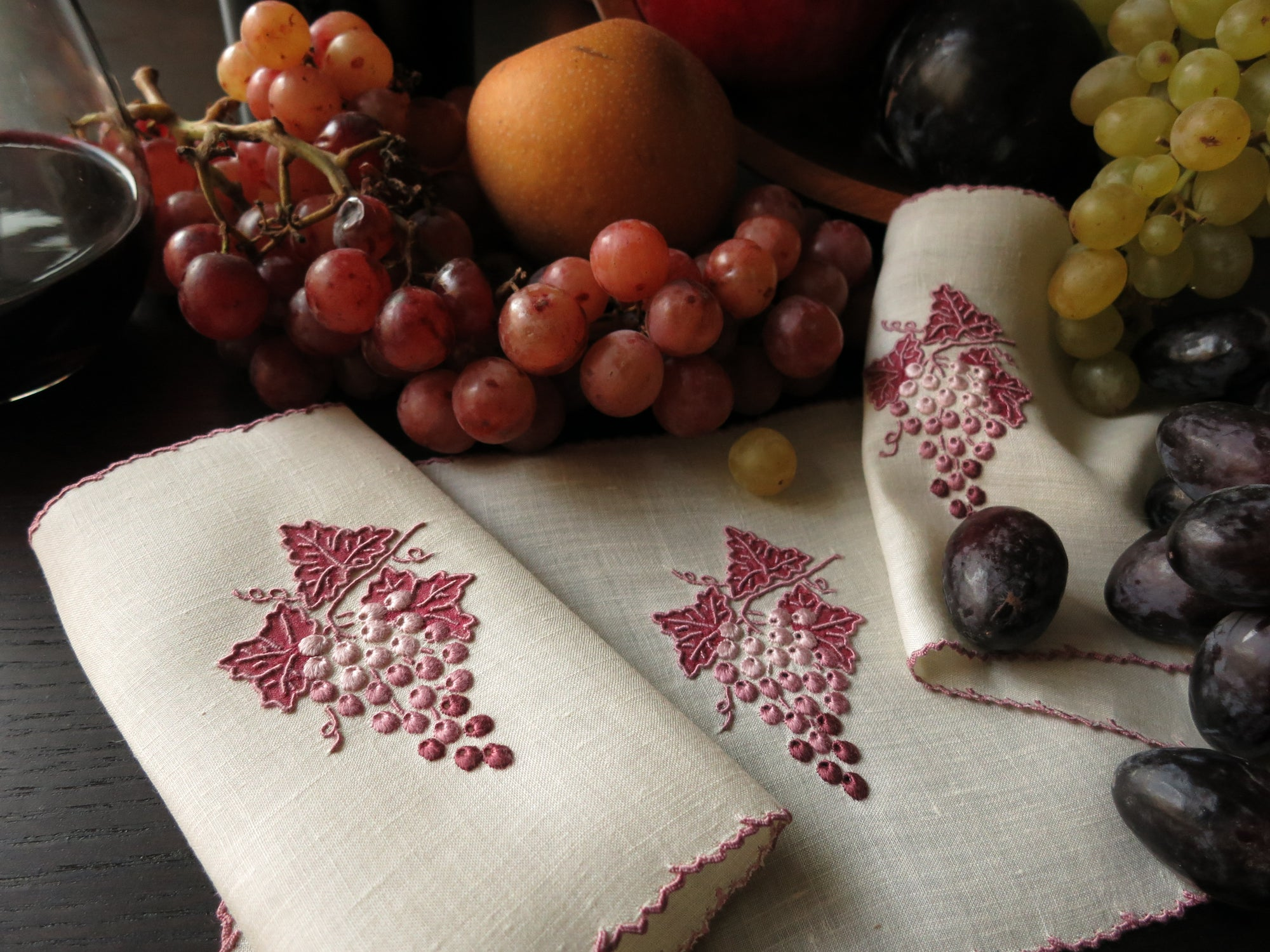 """Grape & Leaf"" in Purple Vintage Marghab Madeira Cocktail Napkins - Set of 6"