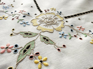 Colorful Flowers Antique Madeira Embroidery Linen Tablecloth 50x52""