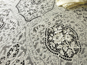 "Belle Époque Antique Handmade Milan Lace 102"" Tablecloth & 12 Napkins"