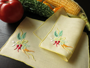 """Carrots & Peas"" Marghab Vintage Madeira Linen Cocktail Napkins - Set of 8"