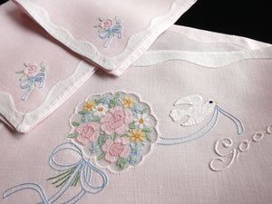 """Good Morning"" Dove & Flowers Vintage Madeira Embroidery 3pc Breakfast Set"