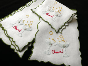 """Cheers"" with Olive Martinis Vintage Madeira Cocktail Napkins - Set of 8"