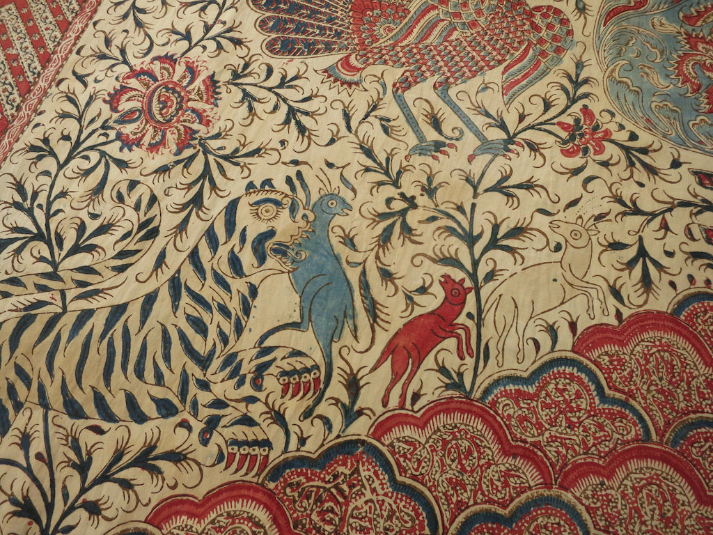 Tigers, Animals, Birds Antique Kalamkari Textile Wall Hanging 44x76""