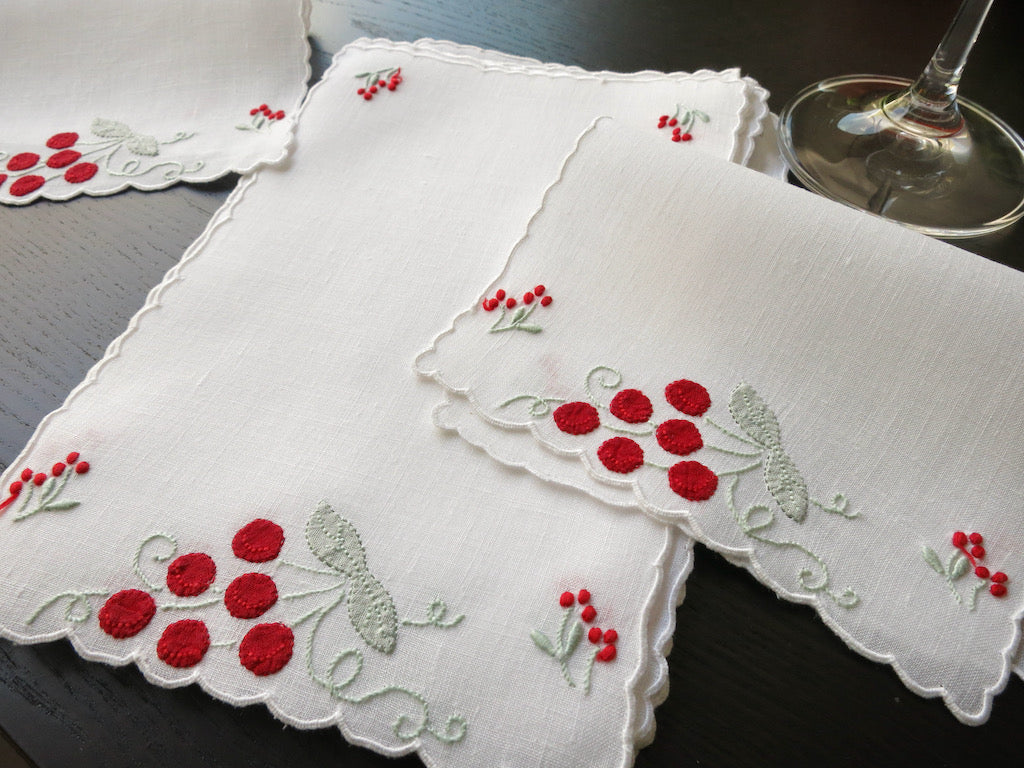 Bright Cherries Vintage Madeira Embroidered Linen Cocktail Napkins ~ Set of 8