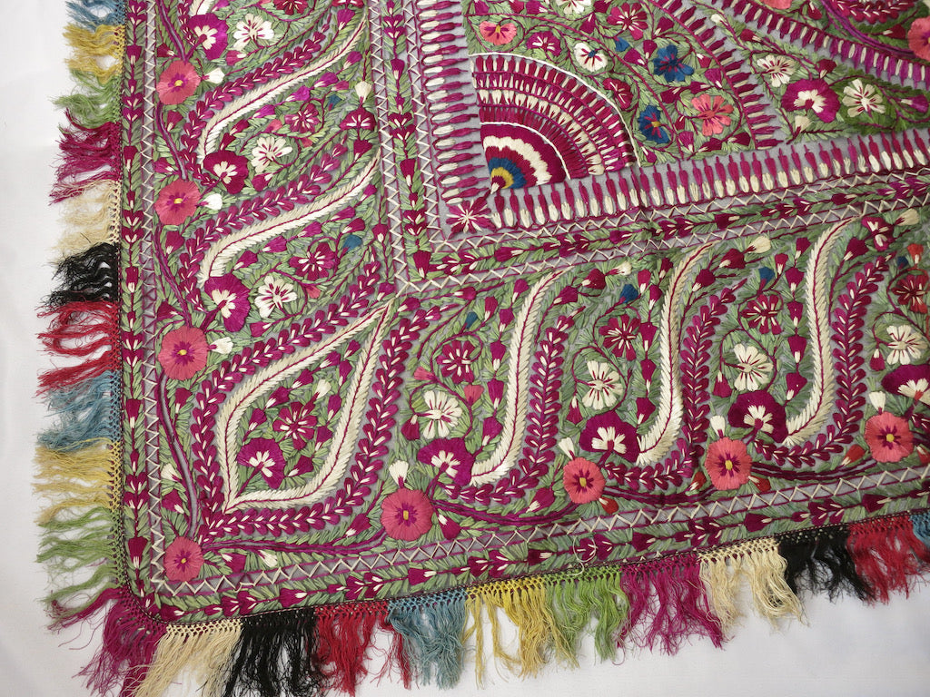 Antique Delhi Work Embroidered Textile Shawl Bedcover Wall Hanging 72x74""
