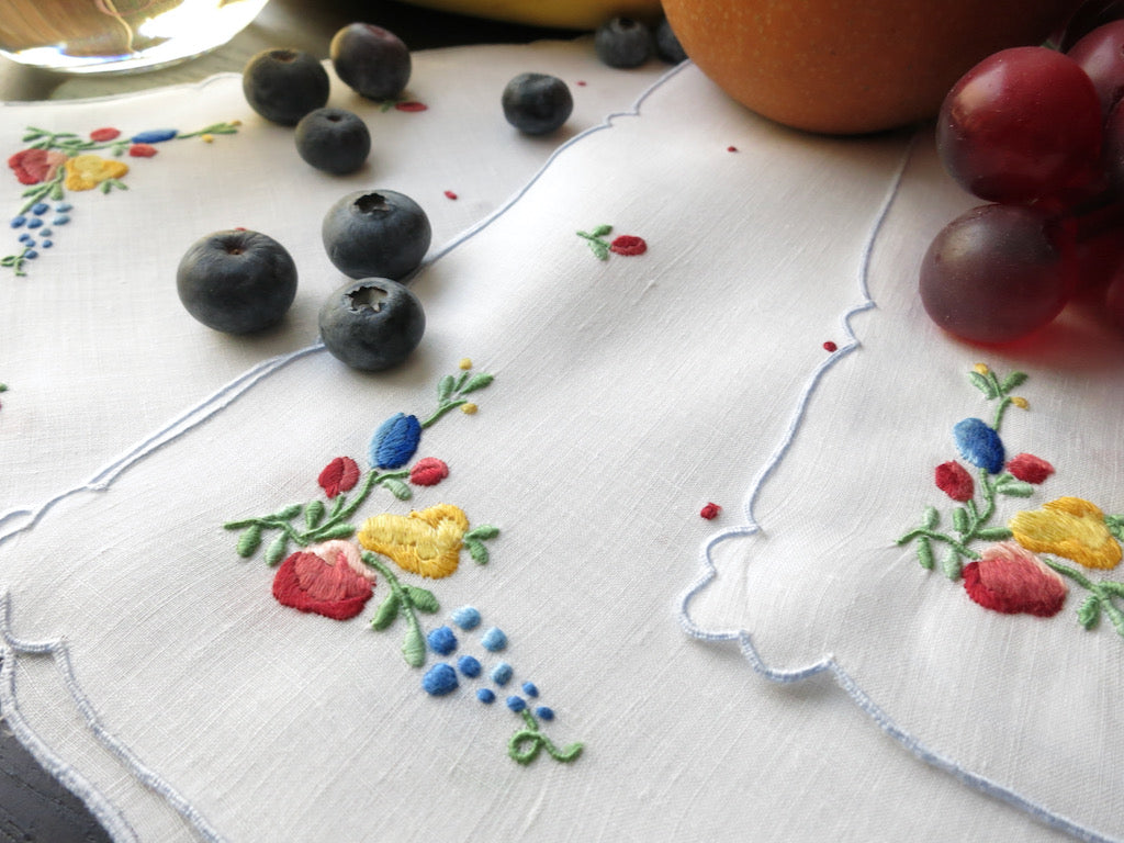 Mixed Fruits Vintage Madeira Embroidered Linen Cocktail Napkins ~ Set of 12