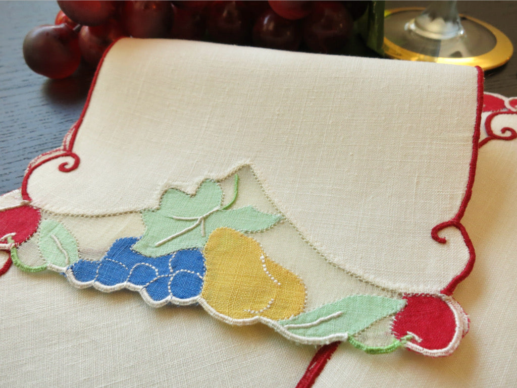 Colorful Fruits Vintage Madeira Embroidered Linen Cocktail Napkins ~ Set of 8