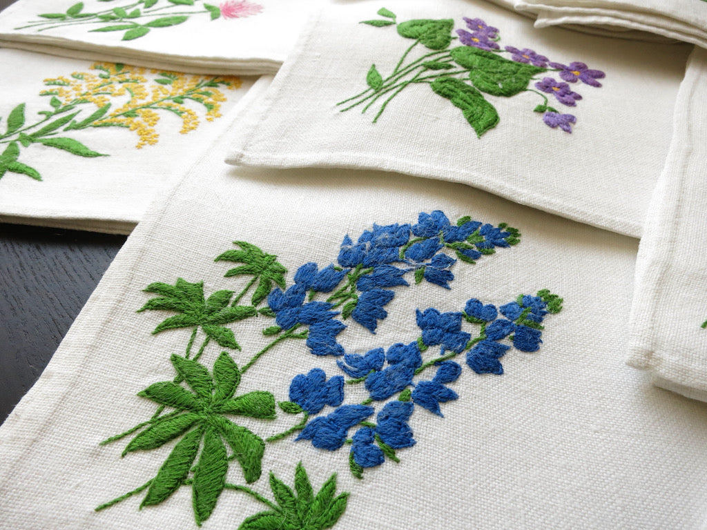 Colorful Flowers Vintage Hand Embroidery Large Linen Napkins ~ Set of 8
