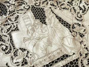 Samson & Delilah Antique Madeira Embroidery Linen Tablecloth 10 Napkins 68x120""