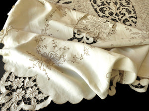 Ornate Antique Madeira Embroidery Linen Tablecloth 12 Napkins 76x106""