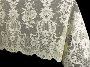 Antique French Alencon Lace Tablecloth 70x102
