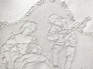 Cherubs & Lovers Antique Appenzell Hand Embroidery Towels ~ Matched Pair