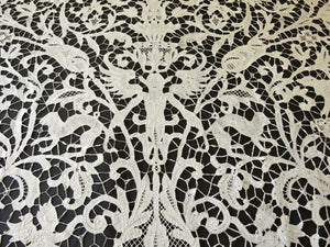 Antique Coverlet 19thC Bobbin Lace ~ Animals, Hunters & Mythological Creatures