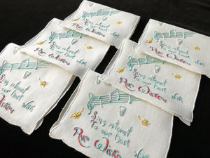 Rye Whiskey Singing Toast Vintage Madeira Linen Cocktail Napkins ~ Set of 6