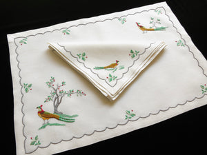 Colorful Pheasants Madeira Embroidery 25pc Placemat Set - Setting for 12