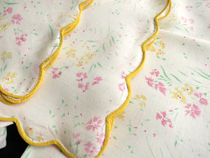 Vintage D Porthault Large Dinner Napkins Flax Linen Yellow Edge ~ Set of 12