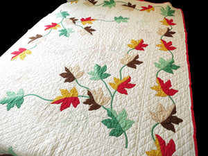 Gorgeous Fall Leaves Vintage Appliqué Quilt, 74 x 88 inches