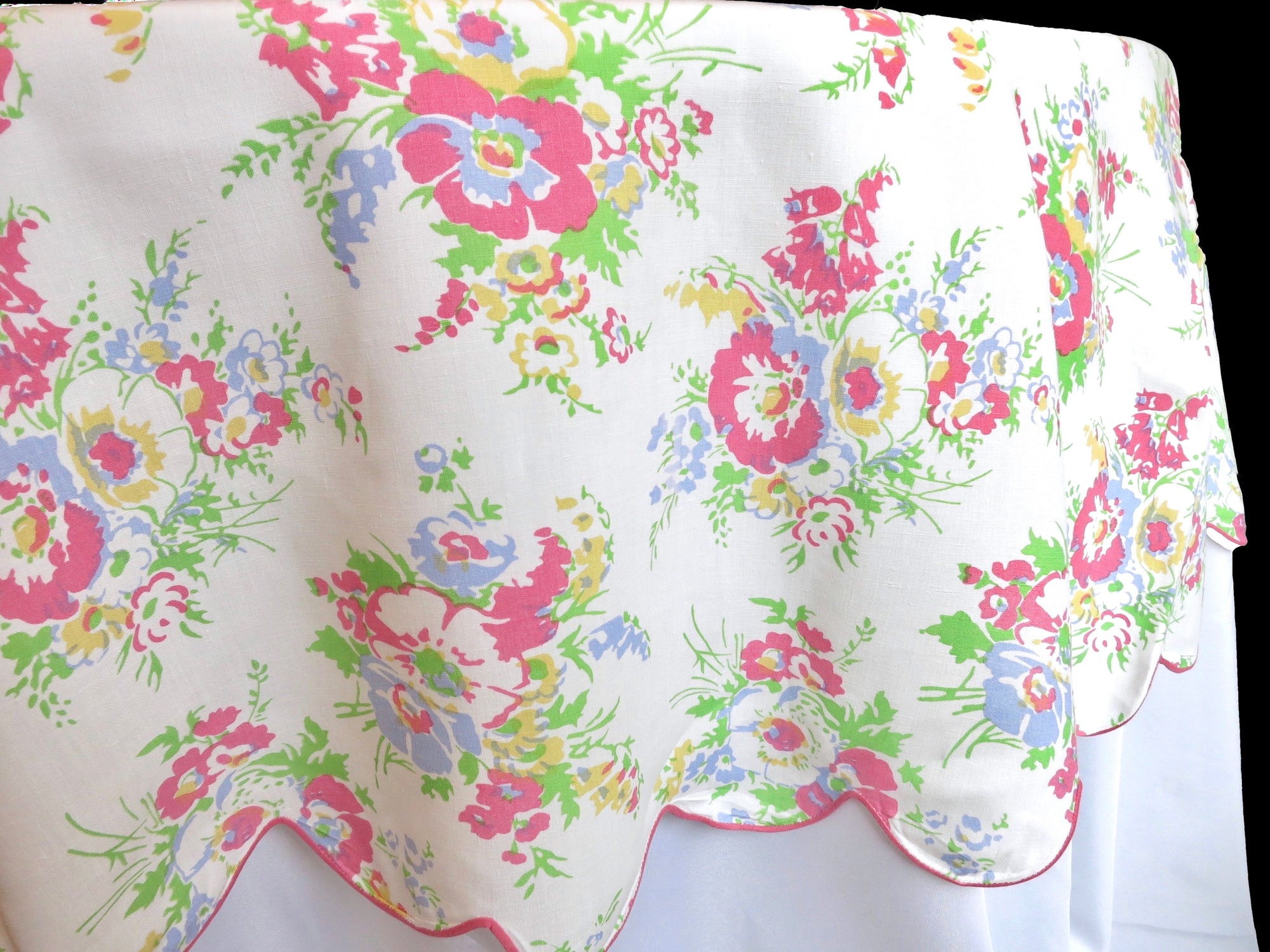 Pink Flowers Vintage D Porthault Flax Linen Round Tablecloth 68""