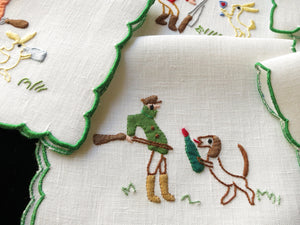 A Real Hunting Party Vintage Italian Cocktail Napkins - Set of 6