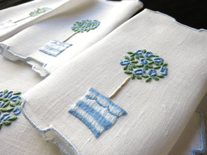 Rose Tree in Blue Vintage Madeira Linen Cocktail Napkins ~ Set of 8