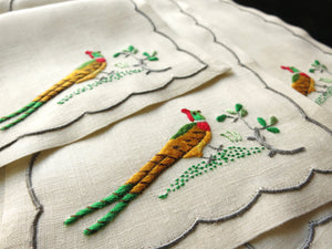 Pheasants Vintage Madeira Embroidered Linen Cocktail Napkins - Set of 8