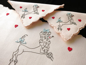 Poodles & Hearts Vintage Madeira Embroidery 3pc Breakfast Set