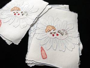 Kissing Daisies Vintage Madeira Linen Cocktail Napkins - Set of 8