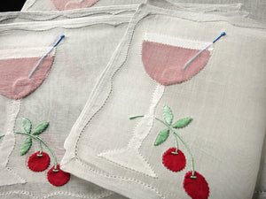 Cherry Cocktail Garnishes Vintage Madeira Embroidered Cocktail Napkins - Set of 6