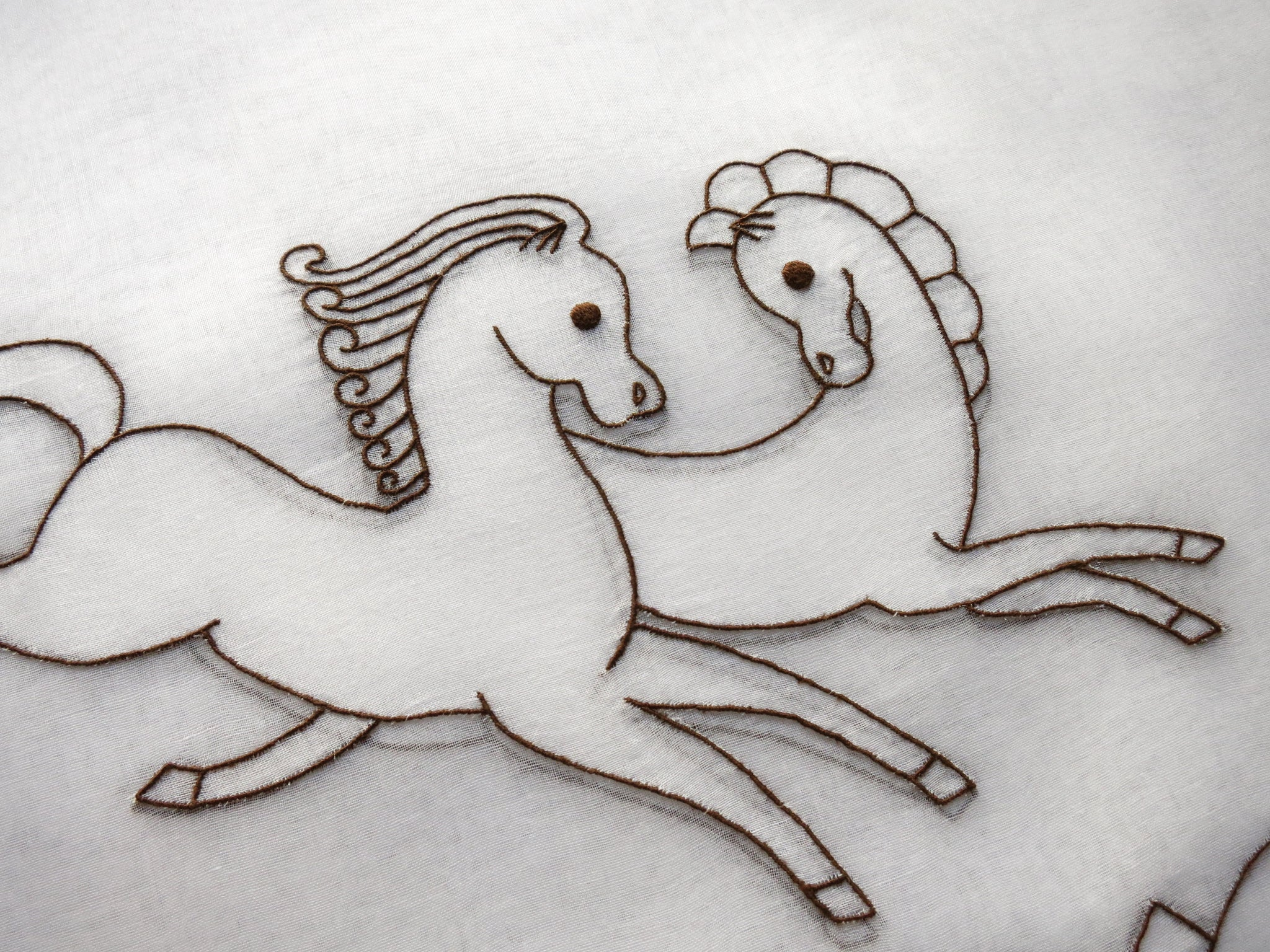 Art Deco C1930 Horses French Hand Embroidery 8 Organdy Placemats Run Things Most Delightful