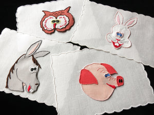Naughty Animals Vintage Madeira Peek-a-boo Cocktail Napkins - Set of 4