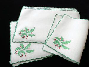 """Holly"" Vintage Marghab Madeira Christmas Cocktail Napkins - Set of 6"